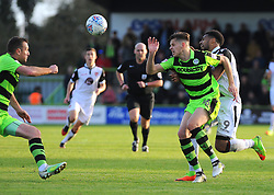 Jack Fitzwater of Forest Green Rovers tangles with Vadaine Oliver of Morecambe - Mandatory by-line: Nizaam Jones/JMP - 28/10/2017 - FOOTBALL - New Lawn Stadium - Nailsworth, England - Forest Green Rovers v Morecambe - Sky Bet League Two