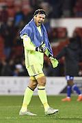 Nottingham Forest goalkeeper Vladimir Stojkovic (38) celebrates a win during the EFL Sky Bet Championship match between Nottingham Forest and Birmingham City at the City Ground, Nottingham, England on 14 October 2016. Photo by Jon Hobley.