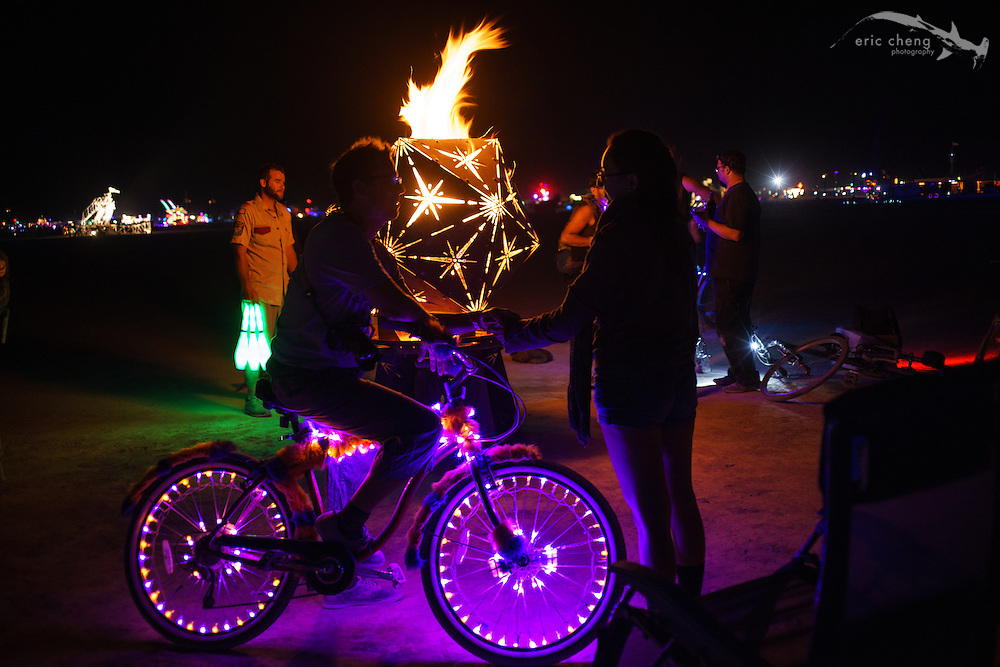 Trey chats with a burner. Burning Man 2014