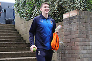 AFC Wimbledon defender Steve Seddon (15) arriving with his mango during the EFL Sky Bet League 1 match between Southend United and AFC Wimbledon at Roots Hall, Southend, England on 16 March 2019.