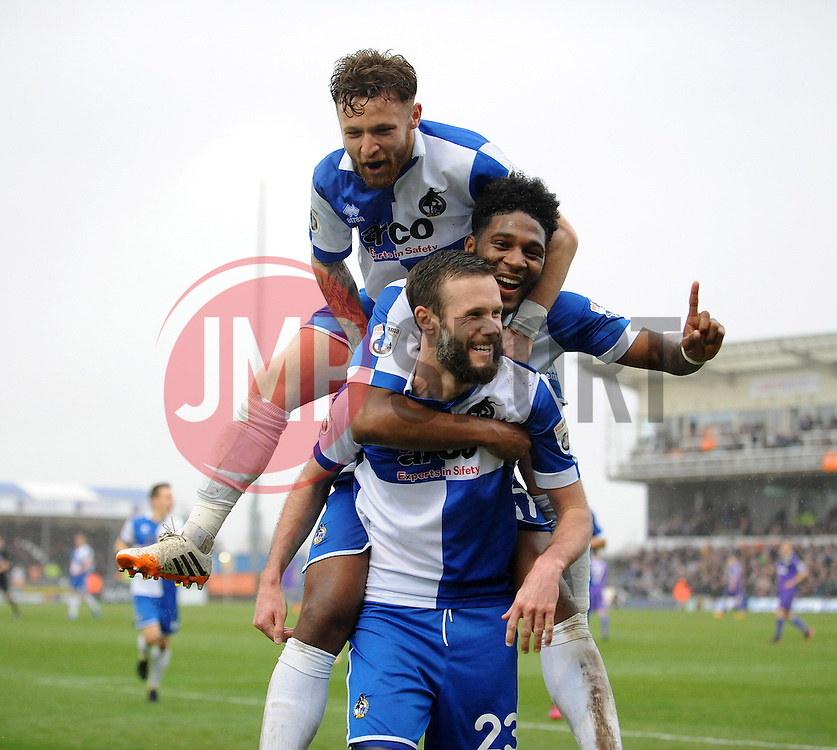 Bristol Rovers' Andy Monkhouse celebrates with Bristol Rovers' Ellis Harrison and Bristol Rovers' Matty Taylor after making it 5-1 - Photo mandatory by-line: Neil Brookman/JMP - Mobile: 07966 386802 - 03/04/2015 - SPORT - Football - Bristol - Memorial Stadium - Bristol Rovers v Chester - Vanarama Football Conference