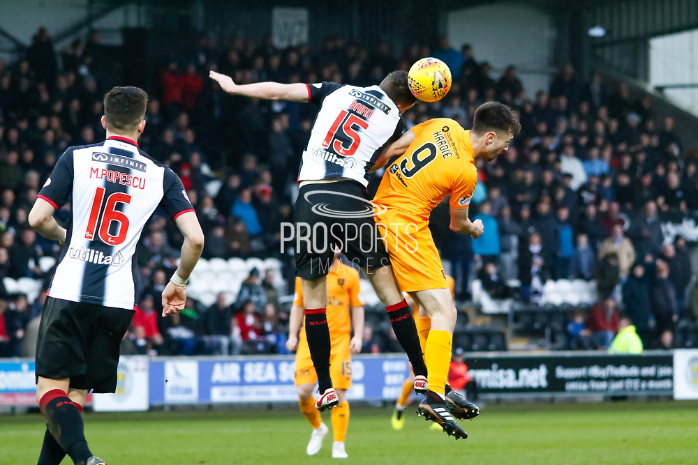 Jack Baird of St Mirren & Ryan Hardie of Livingston challenge for a header during the Ladbrokes Scottish Premiership match between St Mirren and Livingston at the Simple Digital Arena, Paisley, Scotland on 2nd March 2019.