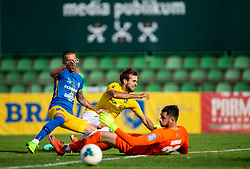 Mustafa Nukić of Bravo vs Tadej Vidmajer of Celje and Matjaž Rozman of Celje during football match between NK Bravo and NK Celje in 13th Round of Prva liga Telekom Slovenije 2019/20, on October 5, 2019 in ZAK stadium, Ljubljana, Slovenia. Photo by Vid Ponikvar / Sportida