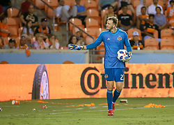 August 4, 2018 - Houston, TX, U.S. - HOUSTON, TX - AUGUST 04:  Houston Dynamo goalkeeper Joe Willis (23) signals to fans to chill out after an altercation on the pitch during the soccer match between Sporting Kansas City and Houston Dynamo on August 4, 2018 at BBVA Compass Stadium in Houston, Texas.  (Photo by Leslie Plaza Johnson/Icon Sportswire) (Credit Image: © Leslie Plaza Johnson/Icon SMI via ZUMA Press)