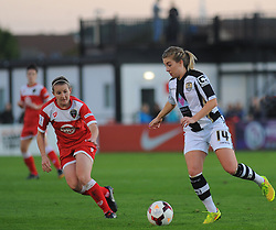 Bristol Academy Womens' Frankie Brown goes in for a challenge. - Photo mandatory by-line: Nizaam Jones - Mobile: 07583 387221- 04/10/2014 - SPORT - Football - Bristol - Stoke Gifford Stadium - BAWFC v Notts County Ladies - Sport