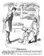 """Resourceful. Keeper of Public Gardens (to little girls, whose dog has been roaming over the flower-beds). """"Now then, young ladies, don't you know the Regilations? No dogs allowed in 'ere unless they're led."""" """"Oh, bovver! Here, Fido! Good dog! Catch hold and lead yourself about!"""""""