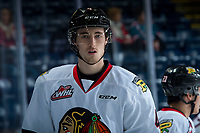 KELOWNA, BC - OCTOBER 20:  Conor MacEachern #4 of the Portland Winterhawks warms up against the Kelowna Rockets at Prospera Place on October 20, 2017 in Kelowna, Canada. (Photo by Marissa Baecker/Getty Images)