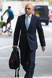 Secretary of State for Housing, Communities and Local Government Sajid Javid arrives at the BBC's New Broadcasting House in London to appear on the Andrew Marr Show. London, April 08 2018.