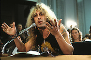"Dee Snider of Twisted Sister, testifies at a senate hearing on ""Dirty Rock"" in September 1985...Photograph by Dennis Brack  bb26"