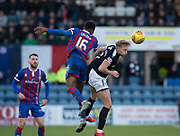20th January 2018, Dens Park, Dundee, Scotland; Scottish Cup fourth round, Dundee versus Inverness Caledonian Thistle; Dundee's A-Jay Leitch-Smith competes in the air with Inverness Caledonian Thistle's Riccardo Calder