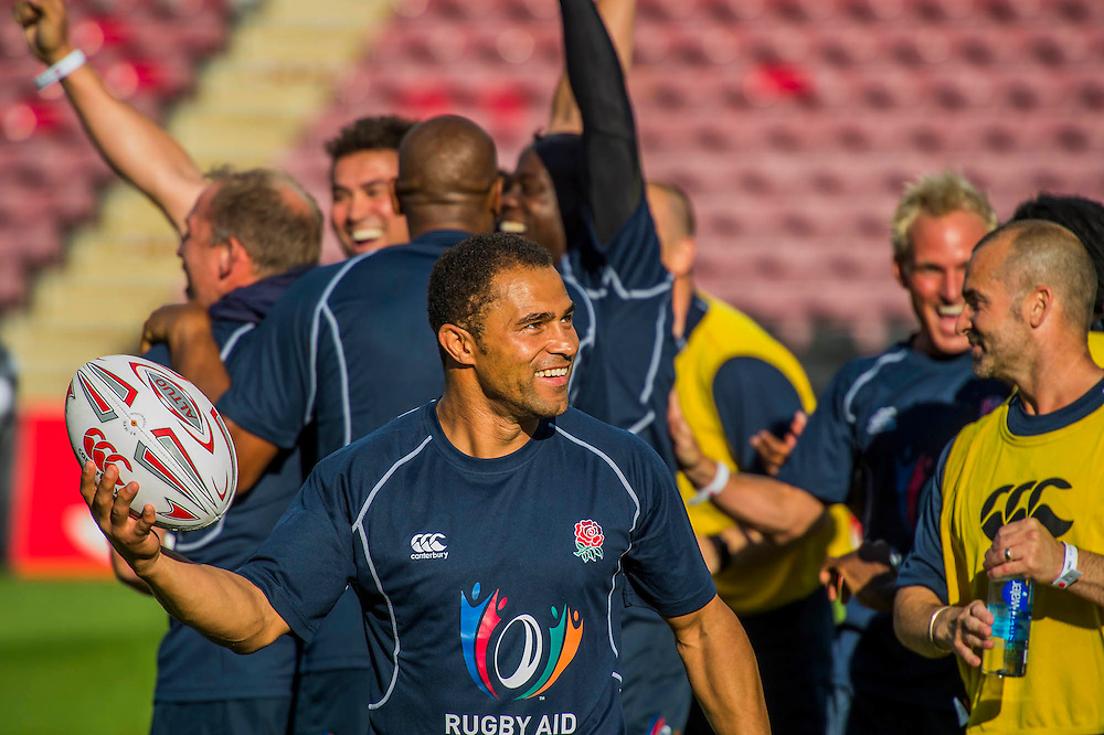 Andy Robinson celebrates the England team winning the kicking competition -Training starts for inaugural RUGBY AID 2015 charity match which takes place on Friday 4th September 2015 at the Twickenham Stoop. The celebrity charity game will be in aid of RUGBY FOR HEROES  of which Mike Tindall MBE is Patron. The charity raises funds and awareness through the sport of rugby, the fan community and the wider professional player network, to support military personnel who are making the transition back from military service to civilian life. The teams (England v's Rest of the World) include former international rugby players, celebrities and serving members of the armed forces. Harlequins Rugby , The Stoop, Twickenham, London UK, 02 Sept 2015