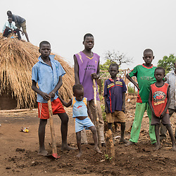 Isaac, 14,  Jackson, 3, Peter, 16, Moses, 7, Simon, 12, John, 4, and Gabriel, 8, left to right, are siblings living by themselves at the Bidi Bidi refugee settlement in north Uganda. <br />