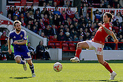 Nottingham Forest midfielder Henri Lansbury   during the Sky Bet Championship match between Nottingham Forest and Brentford at the City Ground, Nottingham, England on 2 April 2016. Photo by Chris Wynne.
