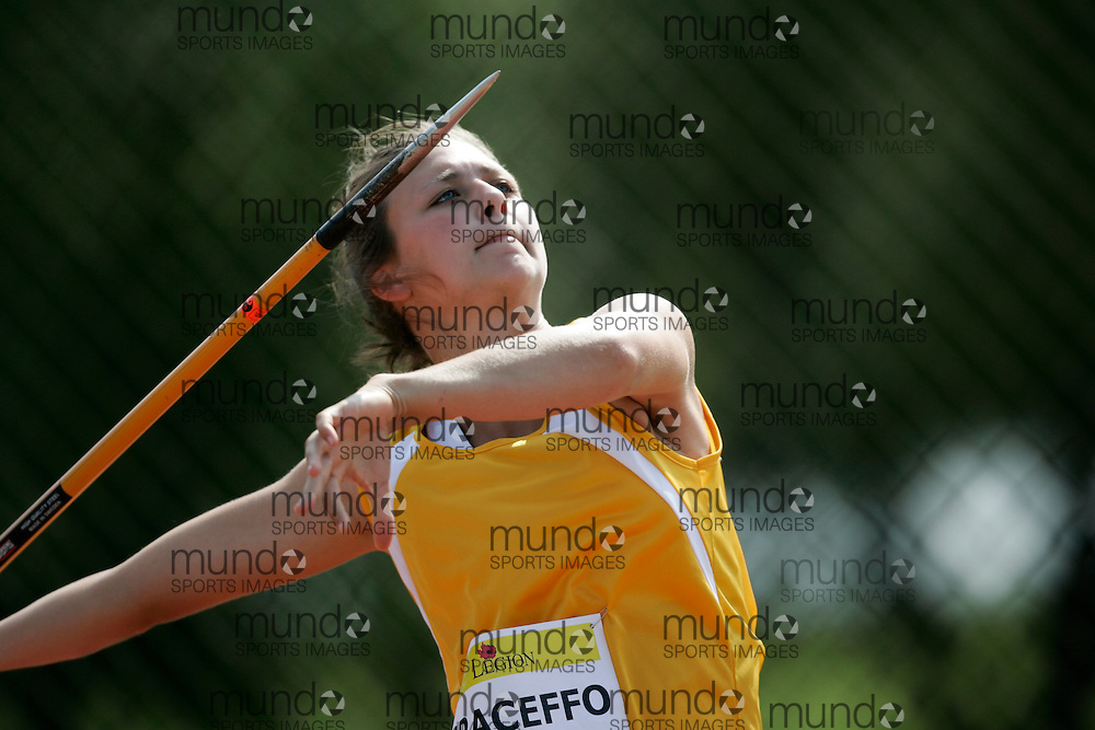 Ottawa, Ontario ---10-08-07--- Graceffo competes in the heptatlon javelin at the 2010 Royal Canadian Legion Youth Track and Field Championships in Ottawa, Ontario August 7, 2010..GEOFF ROBINS/Mundo Sport Images.