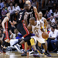 10 March 2011: Los Angeles Lakers shooting guard Kobe Bryant (24) drives past Miami Heat shooting guard Dwyane Wade (3) during the Miami Heat 94-88 victory over the Los Angeles Lakers at the AmericanAirlines Arena, Miami, Florida, USA.