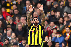 Watford's Andre Gray celebrates victory after the FA Cup quarter final match at Vicarage Road, Watford.