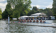 Henley on Thames, England, United Kingdom, Friday, 05.07.19, Hollandia Roeiclub, Netherlands, NED, progress down the course, in their Heat, of the Remenham Challenge Cup, Henley Royal Regatta,  Henley Reach, [©Karon PHILLIPS/Intersport Images]<br /> <br /> 17:37:24 1919 - 2019, Royal Henley Peace Regatta Centenary,