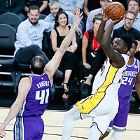 08 October 2017: Los Angeles Lakers forward Julius Randle (30) goes for the jump shot over Sacramento Kings center Kosta Koufos (41) during the LA Lakers 75-69 victory over the Sacramento Kings, at the T-Mobile Arena, Las Vegas, Nevada, USA.