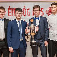 David Neylon, Conor O'Halloran, Conal Ó hAinifein and Patrick Chesser members of the Éire Óg U21A Football Team receiving their medals on the night