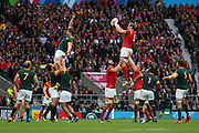 Wales Alun Wyn Jones winning a Wales lineout during the Rugby World Cup Quarter Final match between South Africa and Wales at Twickenham, Richmond, United Kingdom on 17 October 2015. Photo by Matthew Redman.