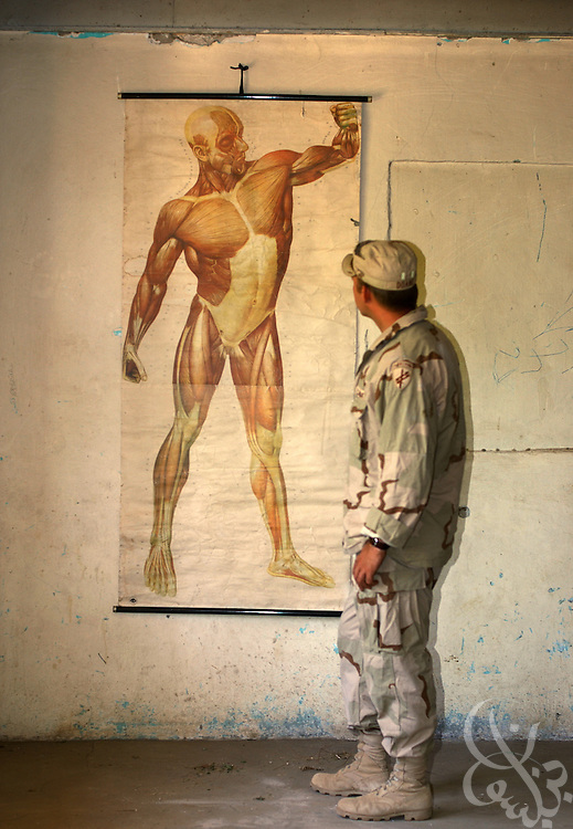 A U.S. Army soldier from the 489th Civil Affairs Batallion based in Knoxville, TN, examines a human anatomy chart May, 26, 2002 at the Parwan Institute for Teachers Training in Charikar, Afghanistan. The 489th Civil Affairs division delivered a load of blankets to the institute for students returning to the dorms and classes next week.