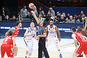 Palla a due, EA7 Emporio Armani Milano vs Germani Basket Brescia LBA serie A 4^ giornata di ritorno stagione 2016/2017 Mediolanum Forum Assago, Milano 12/02/2017