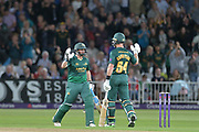 Steven Mullaney and Dan Christian celebrating victory in the NatWest T20 Blast Quarter Final match between Notts Outlaws and Somerset County Cricket Club at Trent Bridge, West Bridgford, United Kingdom on 24 August 2017. Photo by Simon Trafford.