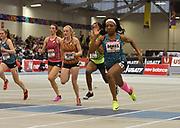 Feb 10, 2018; Boston, Massachussetts, USA; Thelma Davies wins the junior girls 60m in 7.38 during the New Balance Indoor Grand Prix at Reggie Lewis Center. From left: Abigail Herdes, Rachelle Parker, Jenna Crean, Jaida Smith and Davies.