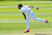 Reece Topley of Hampshire bowling during the Specsavers County Champ Div 1 match between Somerset County Cricket Club and Hampshire County Cricket Club at the Cooper Associates County Ground, Taunton, United Kingdom on 26 May 2017. Photo by Graham Hunt.
