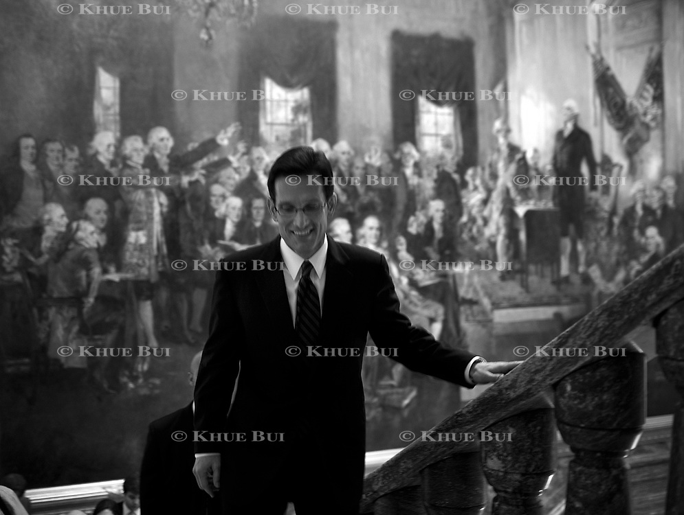 House Minority Whip Eric Cantor (R-VA) returns to the Minority Whip's Office in the US Capitol after the GOP Leadership elections November 17, 2010, in Washington, DC.  Cantor was elected to become the Republican Majority Leader in the upcoming Congress...Photo by Khue Bui