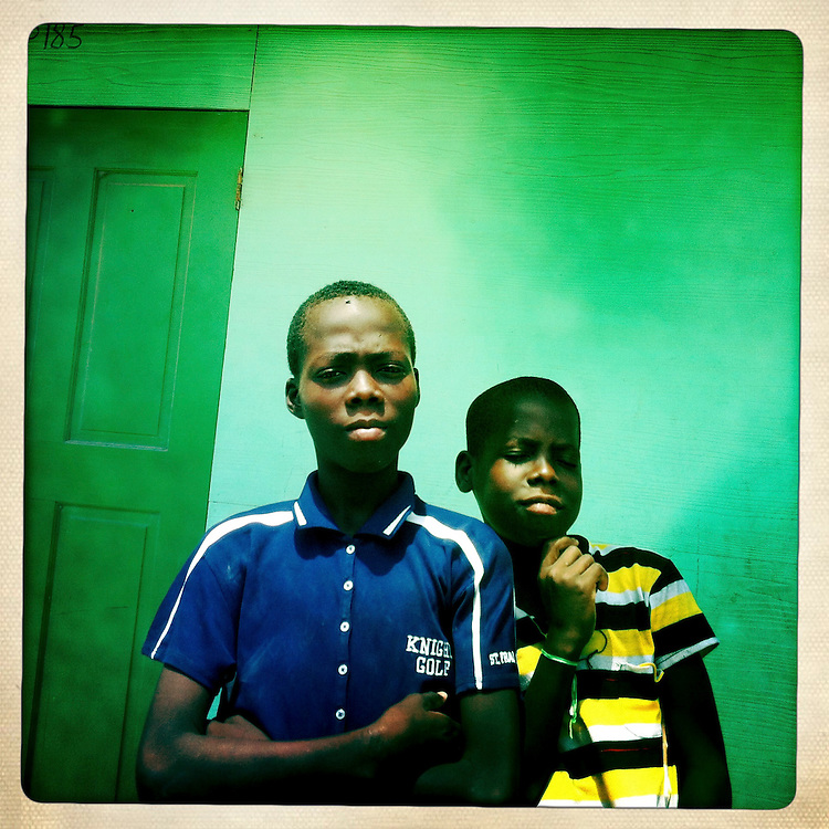 Boys pose for a picture at the Corail camp on Thursday, April 5, 2012 in Port-au-Prince, Haiti.