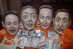 © Licensed to London News Pictures . 18/11/2014 . Kent , UK . Sculptures of party leaders Nick Clegg , Nigel Farage , David Cameron and Ed Miliband on a table at a hustings in the Rochester and Strood by-election , held at the Corn Exchange in Rochester , this evening ( 18th November 2014 ) . Photo credit : Joel Goodman/LNP
