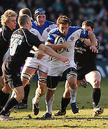 Newcastle - Sunday, March 7th, 2010: Hall Chalrton of Newcastle Falcons and Julian Salvi of Bath Rugby during the Guinness Premiership match at Newcastle. (Pic by Steven Hadlow/Focus Images)