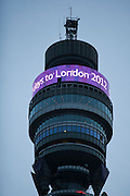 The BT Tower, a tall cylindrical building in central London. Opened in 1965 by Harold Wilson the Prime Minister at the time. Formerly know as Post Office Tower.BT are one of the main sponsors of London 2012 Olympics.