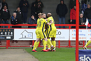 Harry Perry takes the penalty and scores on the rebound to put CTFC 0-2  up and runs off to celebrate during the EFL Sky Bet League 2 match between Crawley Town and Cheltenham Town at the Checkatrade.com Stadium, Crawley, England on 24 March 2018. Picture by Antony Thompson.