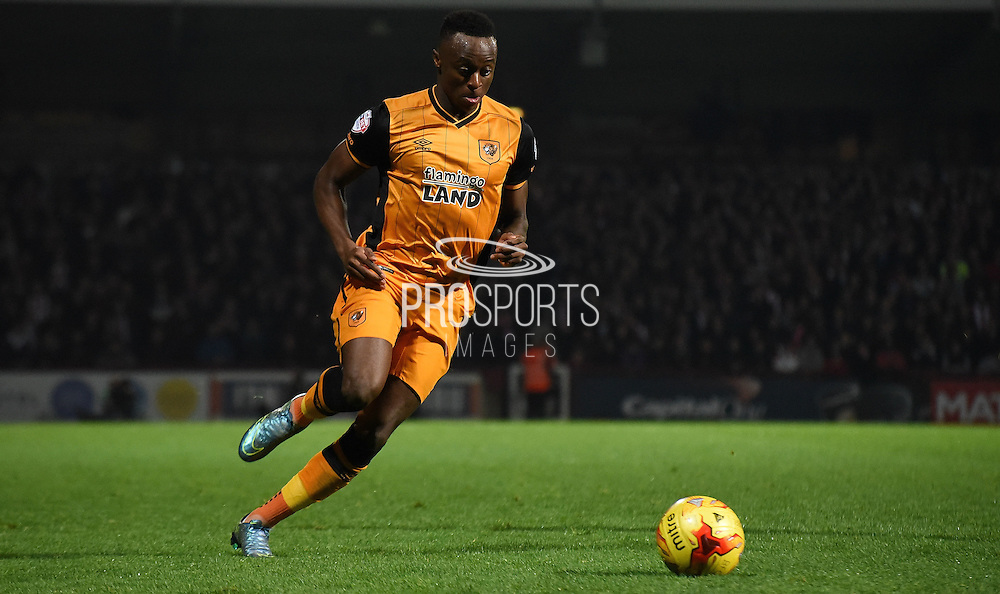 Ex Bee Moses Odubajo in flight during the Sky Bet Championship match between Brentford and Hull City at Griffin Park, London, England on 3 November 2015. Photo by Michael Hulf.