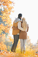 Rear view of couple looking at view in park during autumn