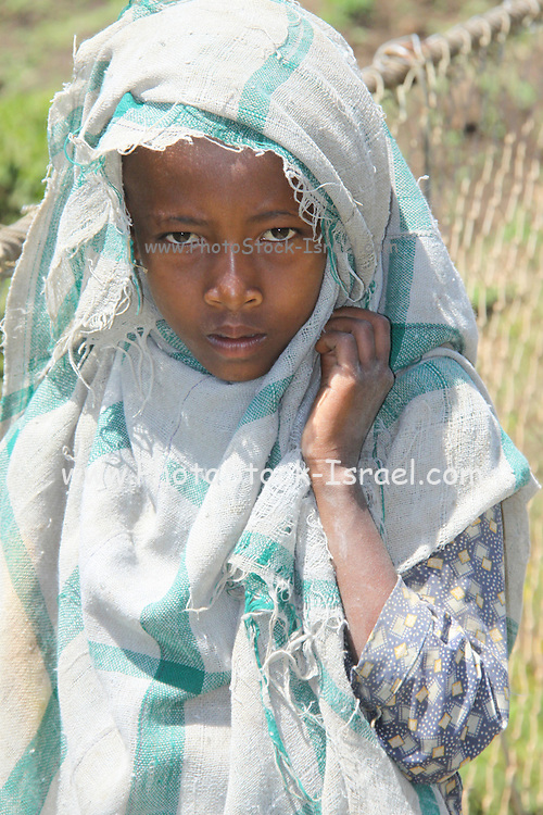 Africa, Ethiopia, Blue Nile river Portrait of a young girl