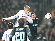 FOOTBALL: Andreas Cornelius (FC København) jumps above Matthijs de Ligt (Ajax Amsterdam) to score his teams second goal during the UEFA Europa League round of 16, first leg, match between FC København and AFC Ajax at Parken Stadium, Copenhagen, Denmark on Marts 9, 2017. Photo: Claus Birch