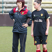 21120413 - HARELBEKE, BELGIUM : Belgium's Head coach Joëlle Piron is pictured here  with Belgium's  Febe Nulens (4) during the Second qualifying round of U17 Women Championship between Switzerland and Belgium on Friday April 13th, 2012 in Harelbeke, Belgium.