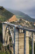 Classic view of the Bixby Bridge and rugged coastal headlands of Big Sur California