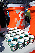 A drink cooler and drink cups are loaded with fluids and ready for a game on a hot day before the San Diego Chargers 2016 NFL preseason football game against the Arizona Cardinals on Friday, Aug. 19, 2016 in San Diego. The Chargers won the game 19-3. (©Paul Anthony Spinelli)