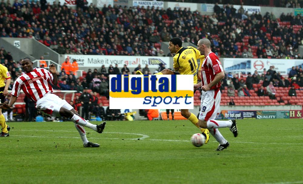 Photo: Mark Stephenson/Sportsbeat Images.<br /> Stoke City v Watford. Coca Cola Championship. 09/12/2007.Watford's Jobi McAnuff has his shot blocked