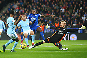 Leicester City Goalkeeper Kasper Schmeichel (1) spreads himself during the Premier League match between Leicester City and Manchester City at the King Power Stadium, Leicester, England on 18 November 2017. Photo by John Potts.