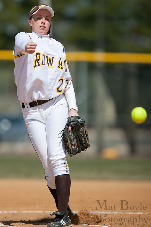 Rowan University junior pitcher Jamie Minix (22) pitches during the second game of a double header vs Swarthmore College.