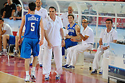 DESCRIZIONE : Teramo Giochi del Mediterraneo 2009 Mediterranean Games Italia Turchia Italy Turkey Preliminary Men<br /> GIOCATORE : Carlo Recalcati Francesco Vitucci Angelo Barnaba<br /> SQUADRA : Nazionale Italiana Maschile<br /> EVENTO : Teramo Giochi del Mediterraneo 2009<br /> GARA : Italia Turchia Italy Turkey<br /> DATA : 30/06/2009<br /> CATEGORIA : coach<br /> SPORT : Pallacanestro<br /> AUTORE : Agenzia Ciamillo-Castoria/G.Ciamillo