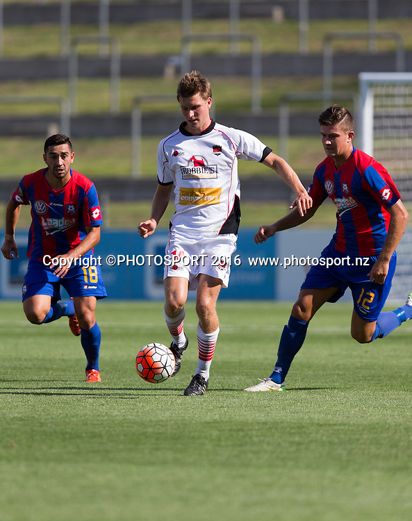 Canterbury United's Andre de Jong keeps control from WaiBOP midfielder Alexis Varela and Mario Ilich during the ASB Premiership - Round 11 football match at FMG Stadium, Hamilton, Sunday 7 February 2016. Copyright Photo: Stephen Barker / www.photosport.nz