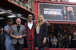 March 16, 2018 - Los Angeles, California, U.S - RuPaul with Ross Mathews and Candis Cayne pose with his star on the Hollywood Walk of Fame following a ceremony on Friday, March 16, 2018, in Los Angeles. (Credit Image: © Ringo Chiu via ZUMA Wire)