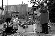In the destroyed town of Mostar, Parents are visiting the grave of their son who was killed in the fightings .Photo:Thomas Sjørup © 2006