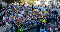 © Licensed to London News Pictures. 20/09/2019. London, UK. Thousands of protesters march along Whitehall as part of the Global Climate Strike in London. Protests about the climate crisis are being led by young people in cities around the world, with millions expected to attend. Photo credit: Rob Pinney/LNP